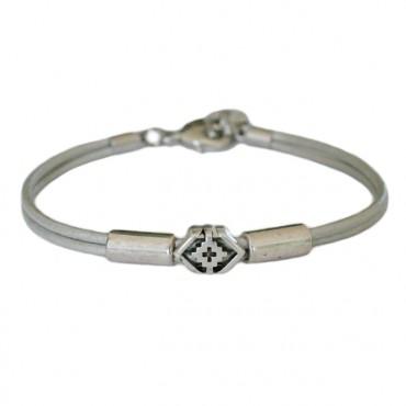 Armband leder Boho smal, zilver(grijs)