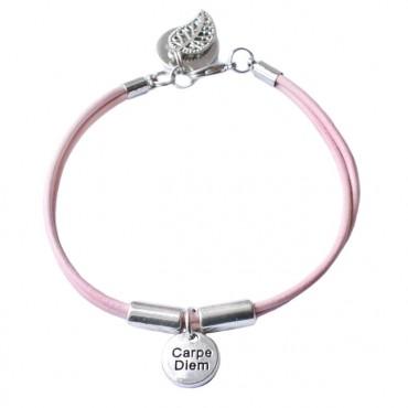 Armband leder Carpe Diem, roze