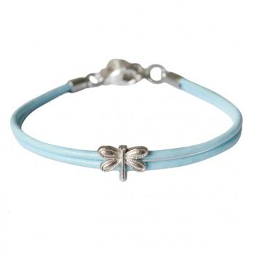 Armband leder Libelle lichtblauw