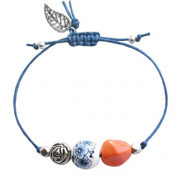 Armband Basic Dutch Mix Flower, oranje/blauw