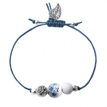 Armband Basic Dutch Mix Flower, wit/blauw