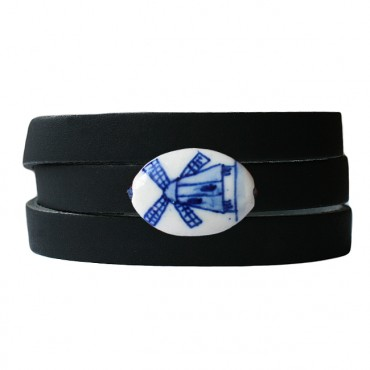 Armband leder wikkel DARE! delftsblauw molen, zwart