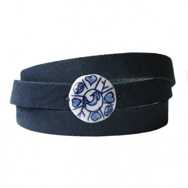 Armband leder wikkel DARE! delftsblauw, donkerblauw