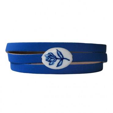 Armband leder wikkel delftsblauw tulp, koningsblauw