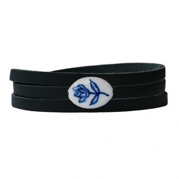 Armband leder wikkel delftsblauw tulp, zwart