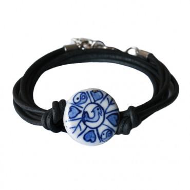 Armband leder wikkel delftsblauw, zwart